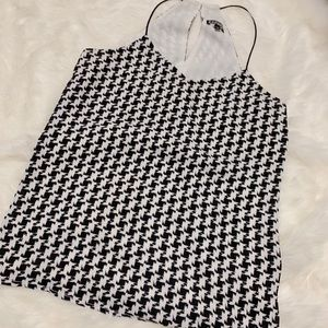 Houndstooth halter top with cami straps